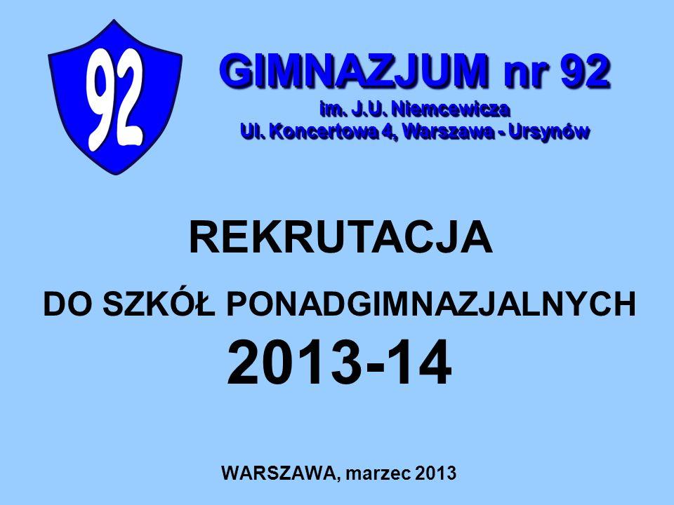 DO SZKÓŁ PONADGIMNAZJALNYCH 2013-14