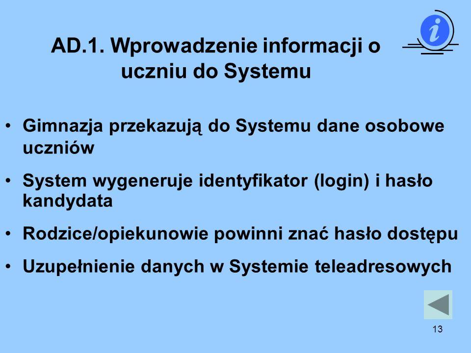 AD.1. Wprowadzenie informacji o uczniu do Systemu