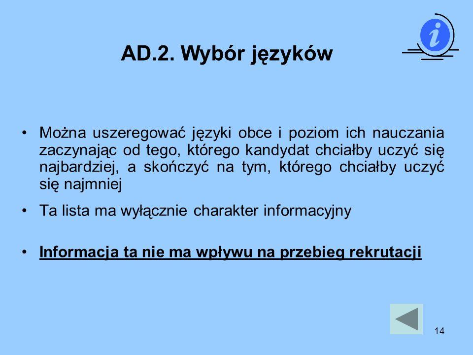 AD.2. Wybór języków