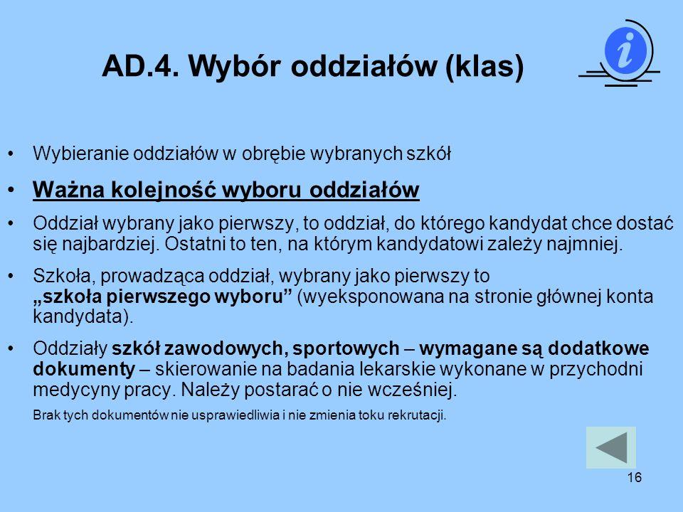 AD.4. Wybór oddziałów (klas)