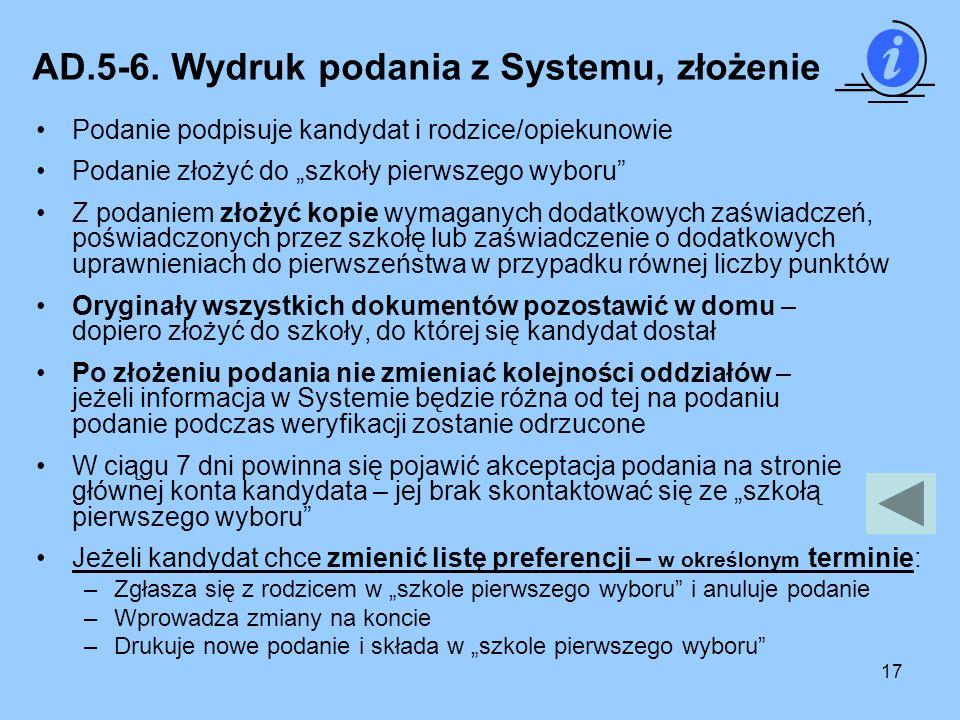 AD.5-6. Wydruk podania z Systemu, złożenie