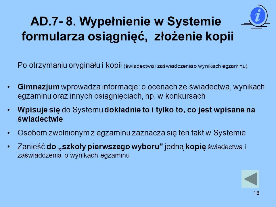 AD.7- 8. Wypełnienie w Systemie formularza osiągnięć, złożenie kopii