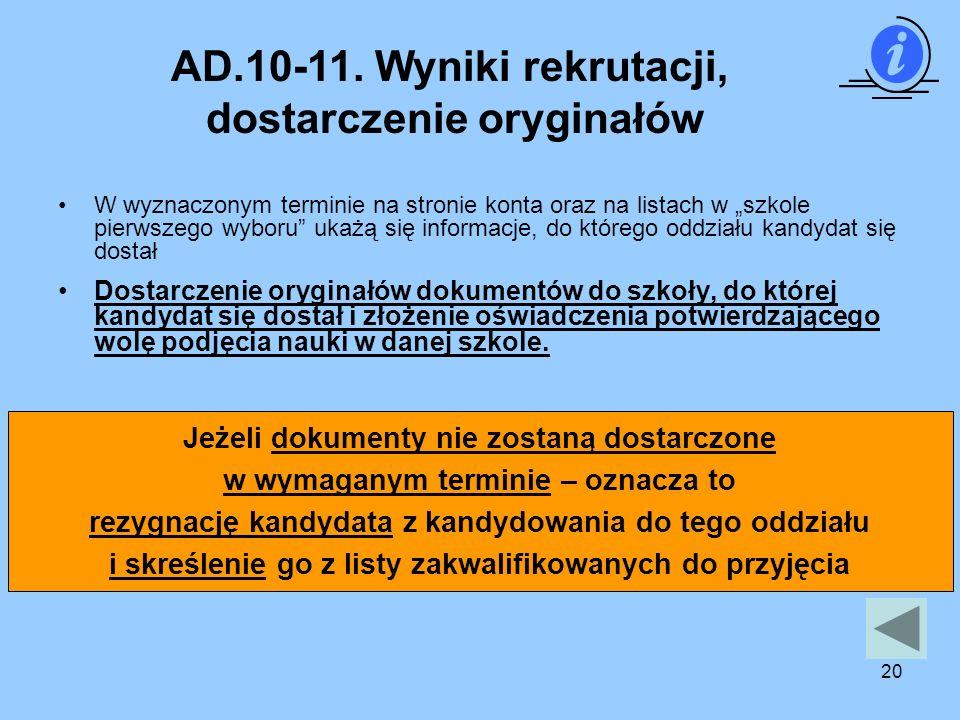 AD.10-11. Wyniki rekrutacji, dostarczenie oryginałów