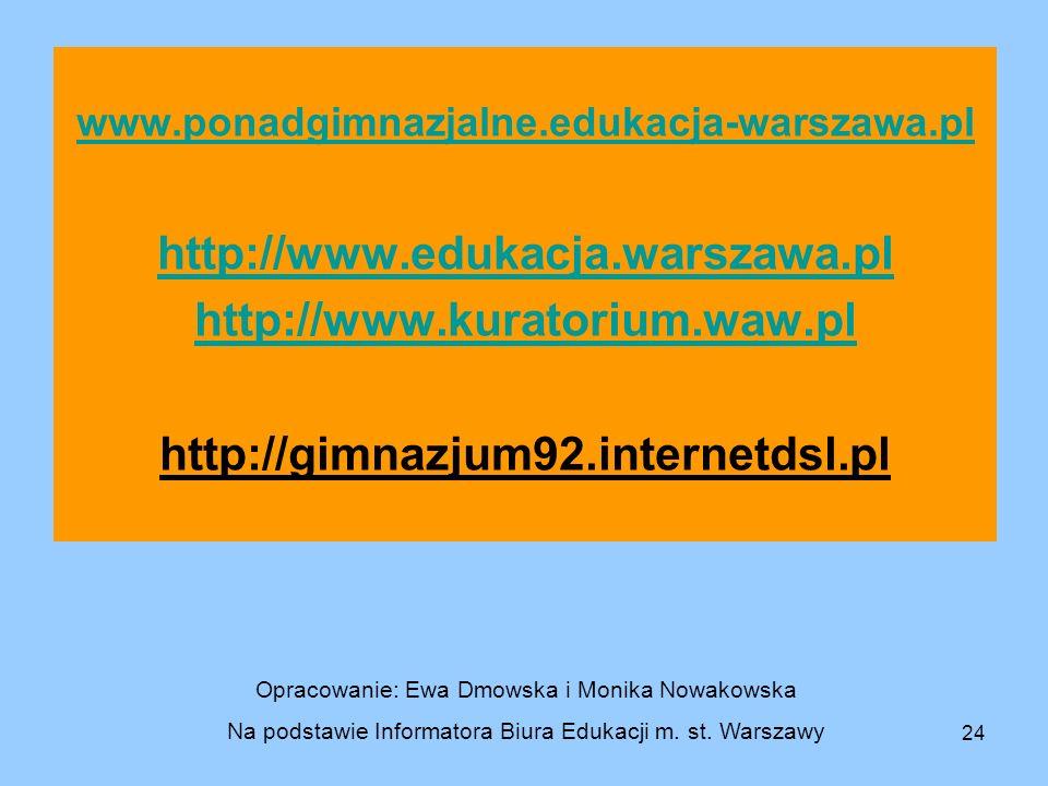 http://www.edukacja.warszawa.pl http://www.kuratorium.waw.pl