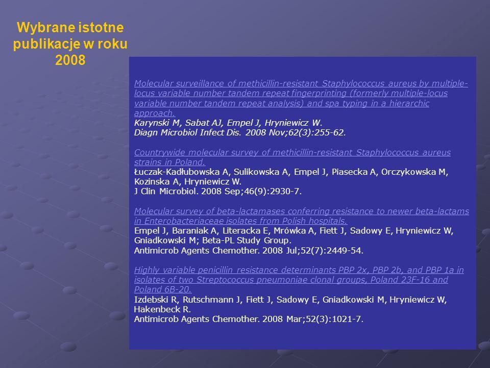 Wybrane istotne publikacje w roku 2008