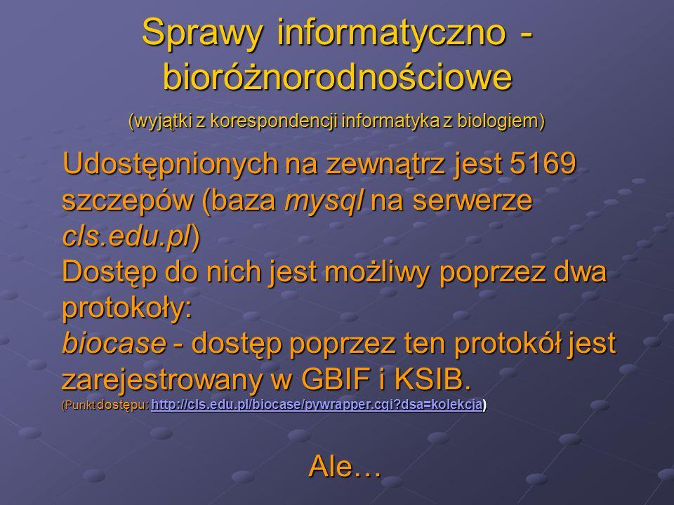 Sprawy informatyczno - bioróżnorodnościowe