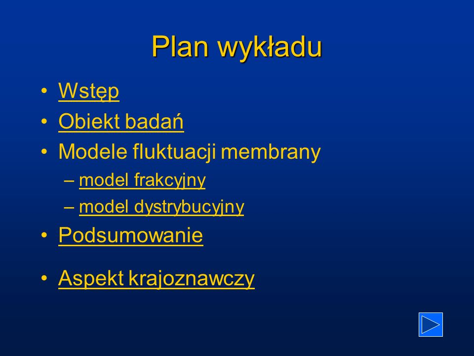 Plan wykładu Wstęp Obiekt badań Modele fluktuacji membrany