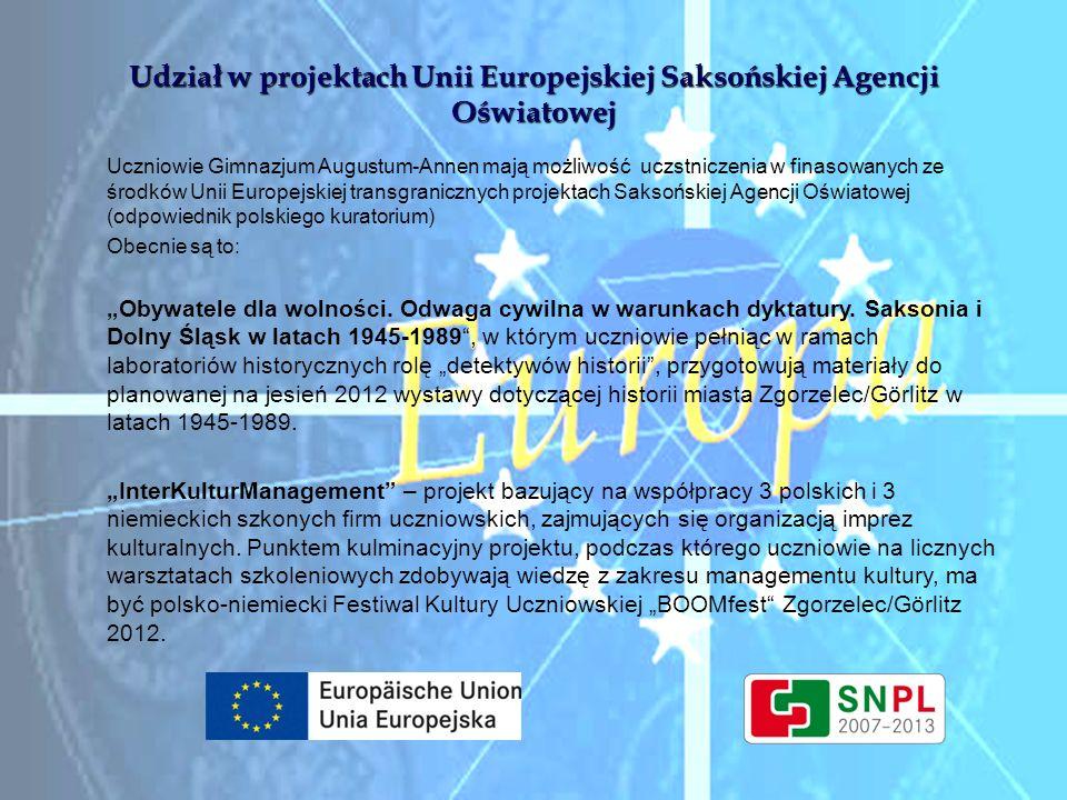 Udział w projektach Unii Europejskiej Saksońskiej Agencji Oświatowej