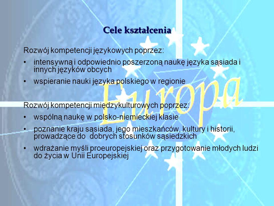 Cele kształcenia Rozwój kompetencji językowych poprzez: