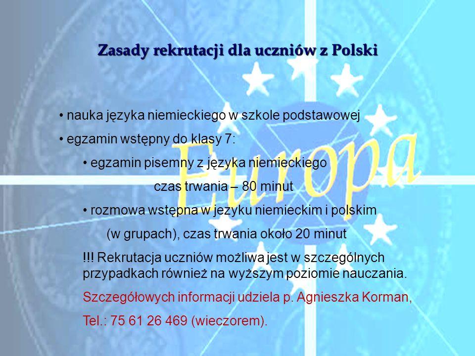 Zasady rekrutacji dla uczniów z Polski