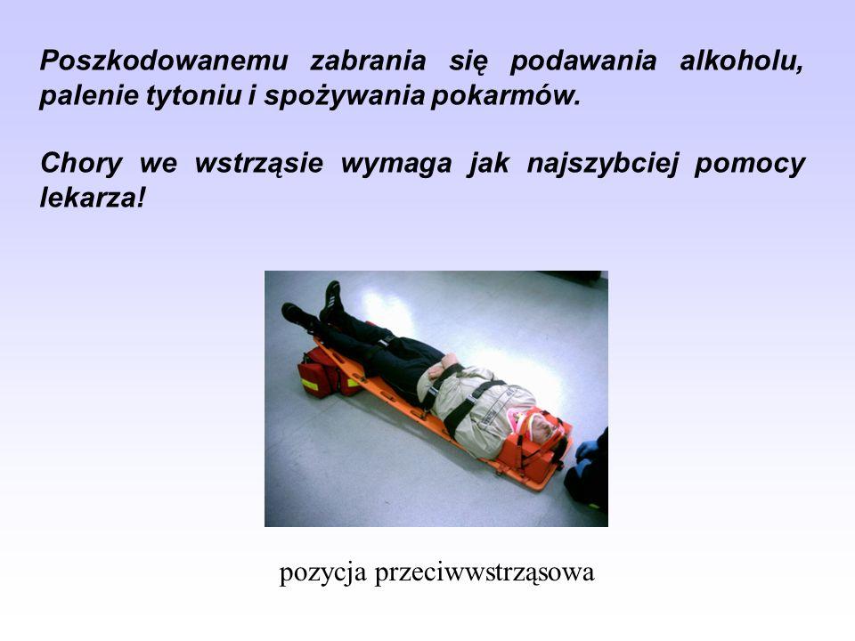 Poszkodowanemu zabrania się podawania alkoholu, palenie tytoniu i spożywania pokarmów.