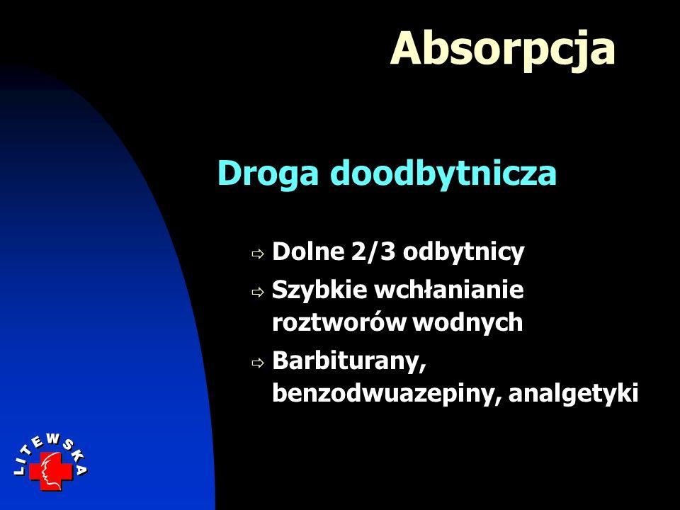 Absorpcja Droga doodbytnicza Dolne 2/3 odbytnicy