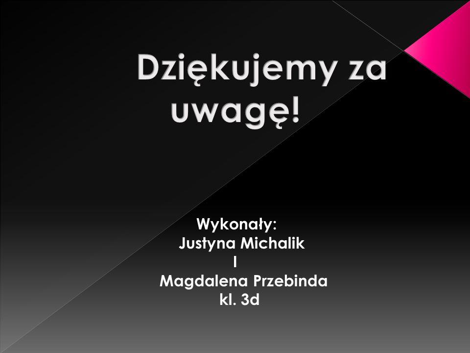 Justyna Michalik I Magdalena Przebinda kl. 3d Dziękujemy za uwagę!