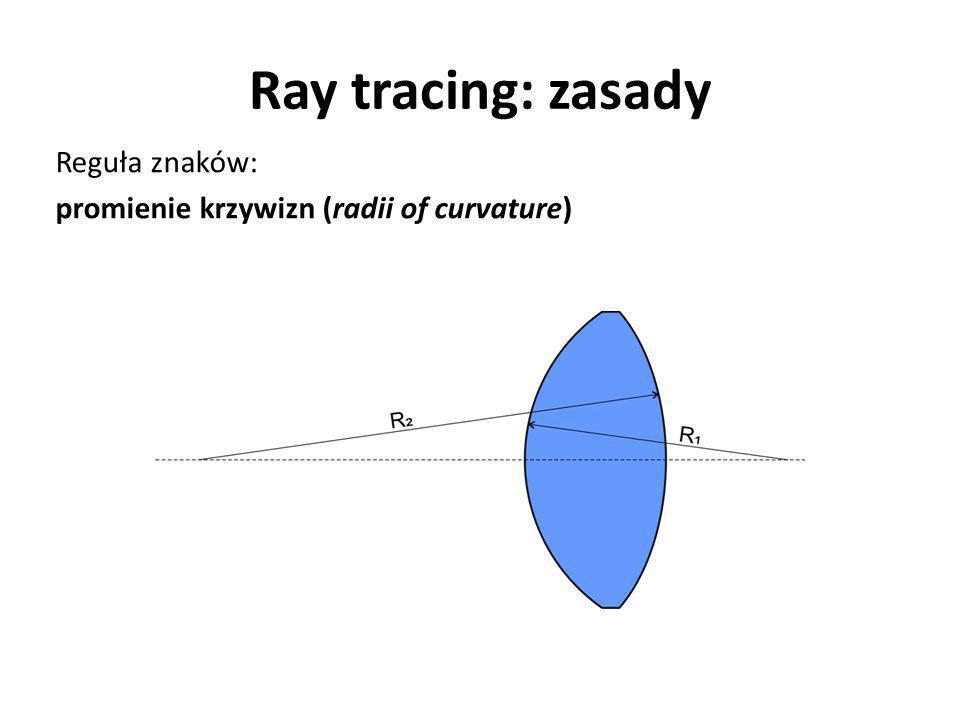 Ray tracing: zasady Reguła znaków: promienie krzywizn (radii of curvature)
