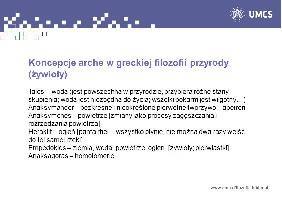 Koncepcje arche w greckiej filozofii przyrody (żywioły)