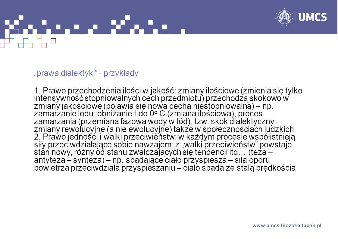 """""""prawa dialektyki - przykłady"""