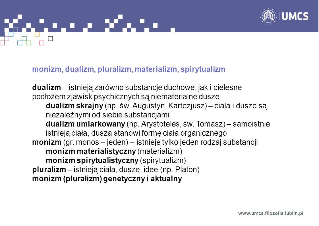 monizm, dualizm, pluralizm, materializm, spirytualizm