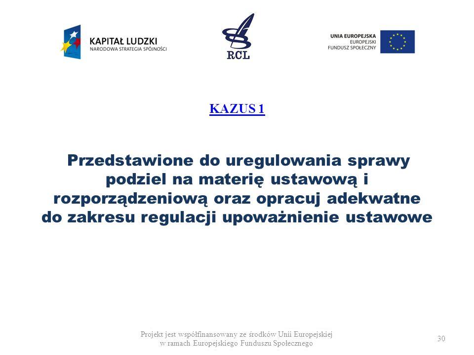 KAZUS 1 Przedstawione do uregulowania sprawy podziel na materię ustawową i rozporządzeniową oraz opracuj adekwatne do zakresu regulacji upoważnienie ustawowe