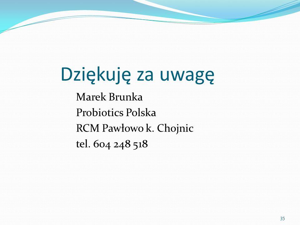 Dziękuję za uwagę Marek Brunka Probiotics Polska RCM Pawłowo k. Chojnic tel. 604 248 518
