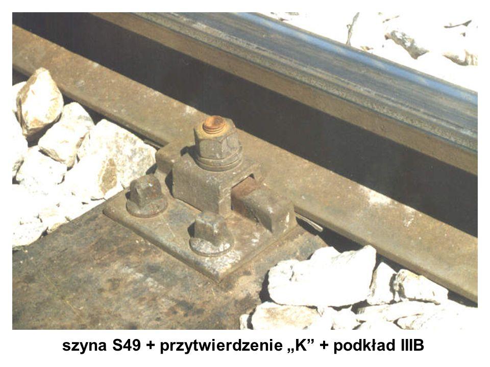 """szyna S49 + przytwierdzenie """"K + podkład IIIB"""