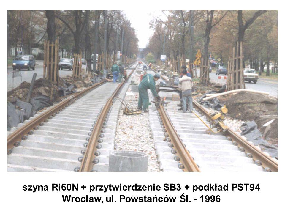 szyna Ri60N + przytwierdzenie SB3 + podkład PST94 Wrocław, ul