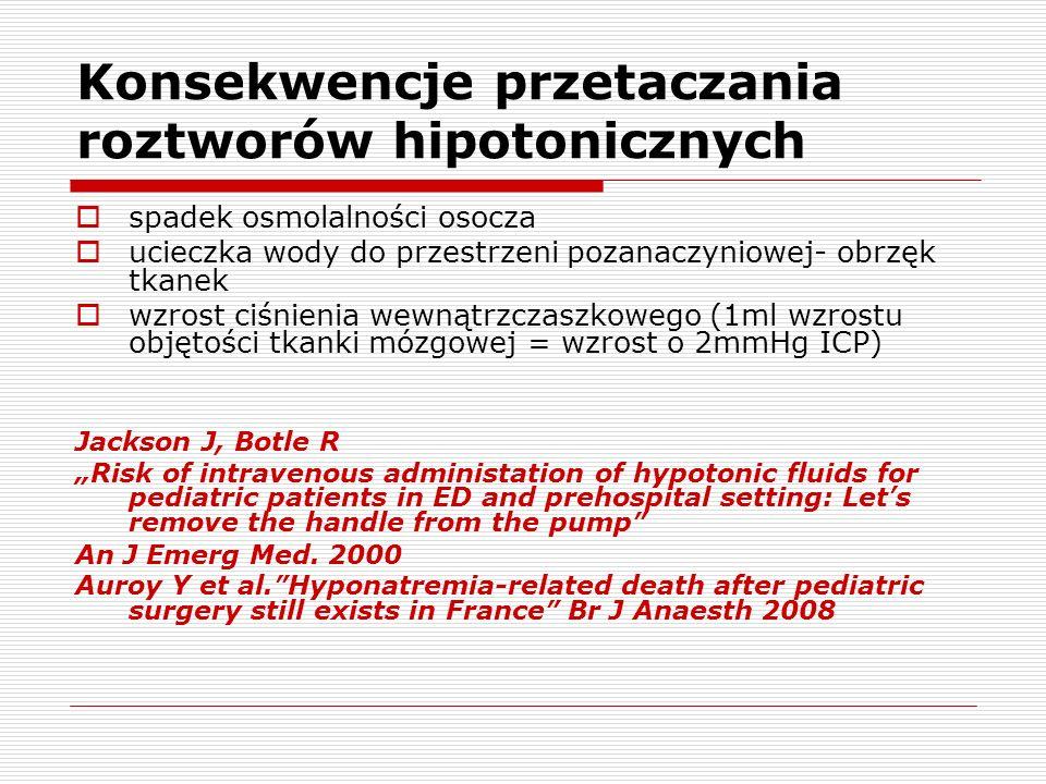 Konsekwencje przetaczania roztworów hipotonicznych