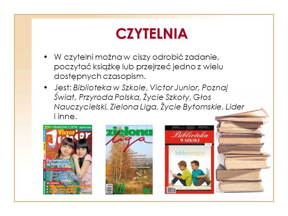 CZYTELNIA W czytelni można w ciszy odrobić zadanie, poczytać książkę lub przejrzeć jedno z wielu dostępnych czasopism.