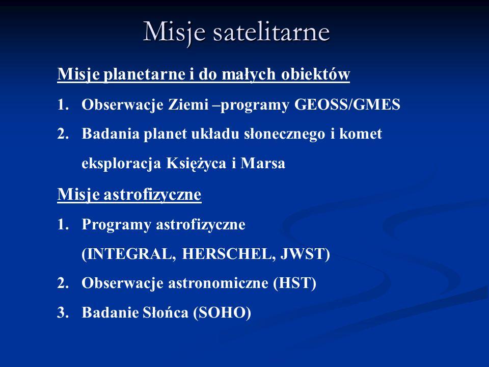 Misje satelitarne Misje planetarne i do małych obiektów