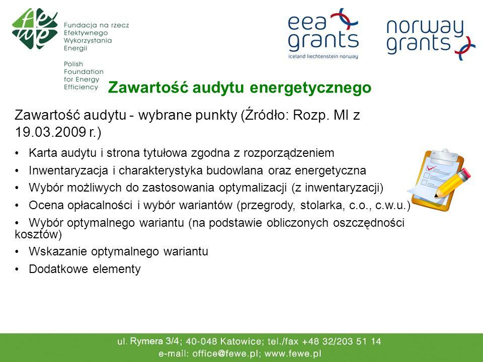 Zawartość audytu energetycznego