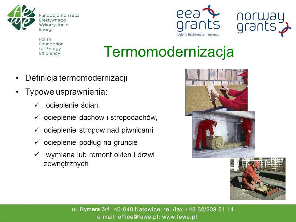 Termomodernizacja Definicja termomodernizacji Typowe usprawnienia: