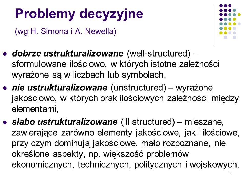 Problemy decyzyjne (wg H. Simona i A. Newella)