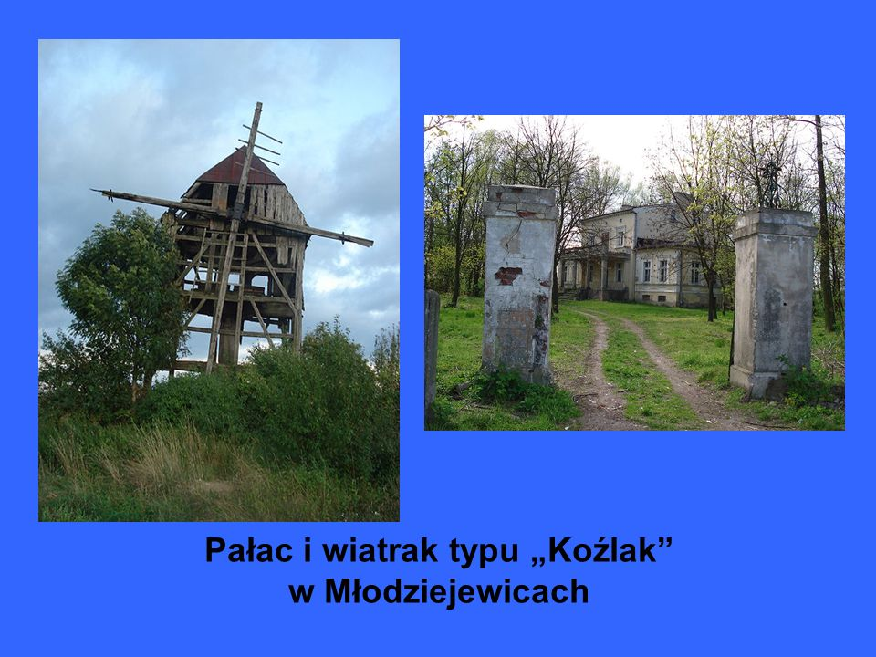 """Pałac i wiatrak typu """"Koźlak w Młodziejewicach"""