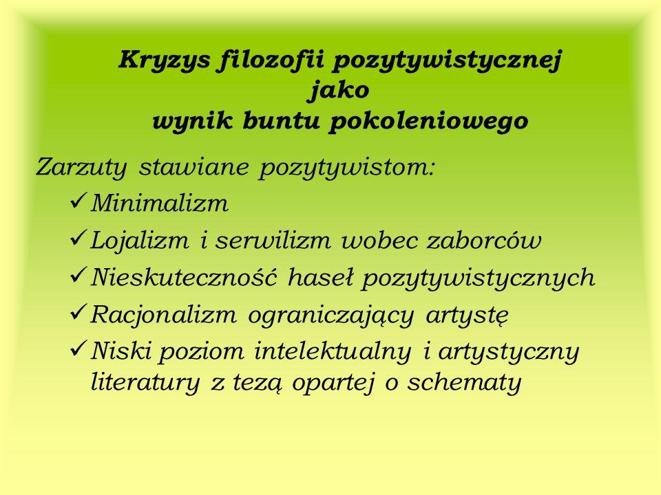 Kryzys filozofii pozytywistycznej jako wynik buntu pokoleniowego