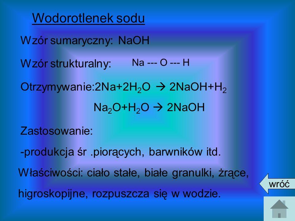 Wodorotlenek sodu Wzór sumaryczny: NaOH Wzór strukturalny: