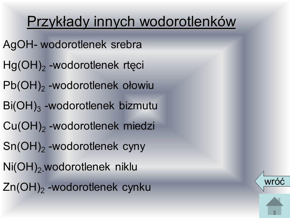 Przykłady innych wodorotlenków