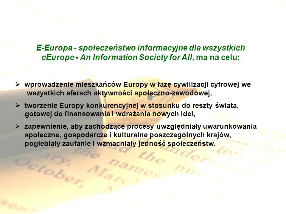 E-Europa - społeczeństwo informacyjne dla wszystkich