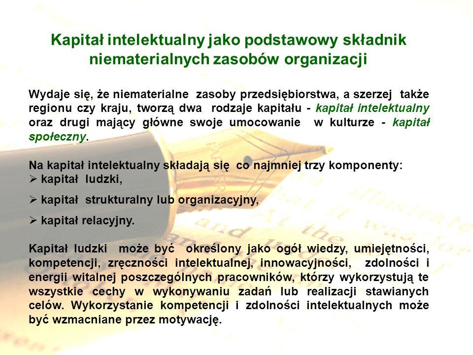 Kapitał intelektualny jako podstawowy składnik niematerialnych zasobów organizacji