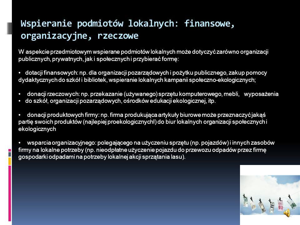 Wspieranie podmiotów lokalnych: finansowe, organizacyjne, rzeczowe
