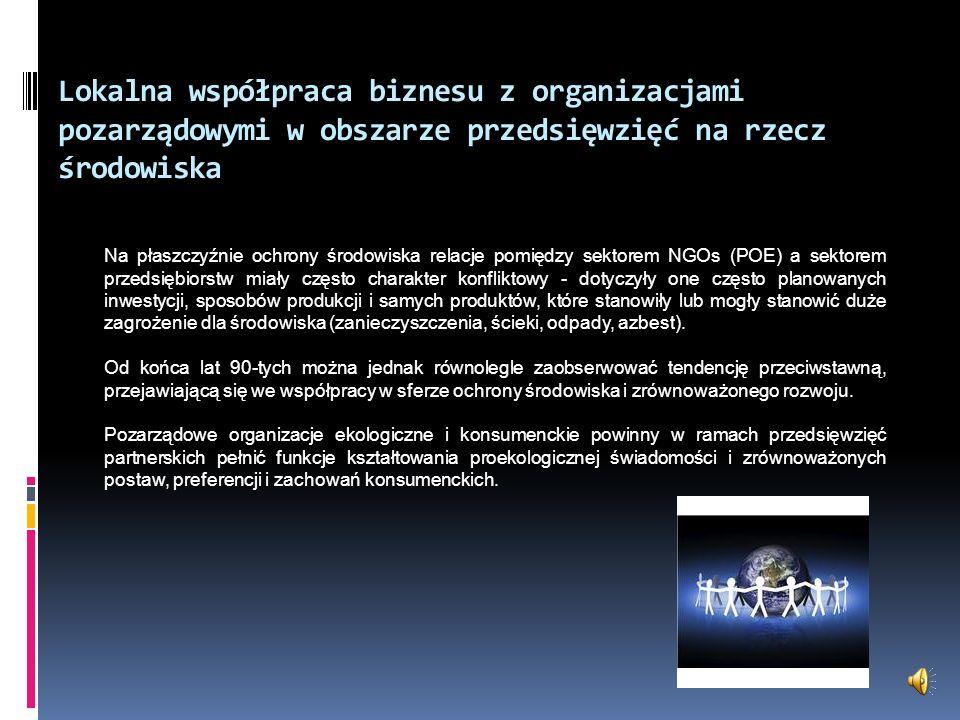 Lokalna współpraca biznesu z organizacjami pozarządowymi w obszarze przedsięwzięć na rzecz środowiska