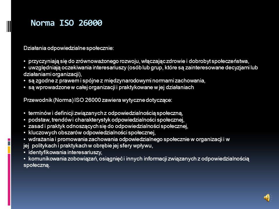 Norma ISO 26000 Działania odpowiedzialne społecznie: