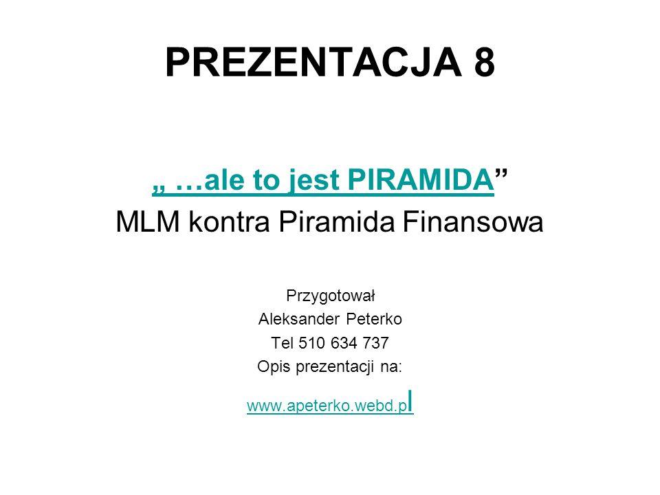 """PREZENTACJA 8 """" …ale to jest PIRAMIDA MLM kontra Piramida Finansowa"""