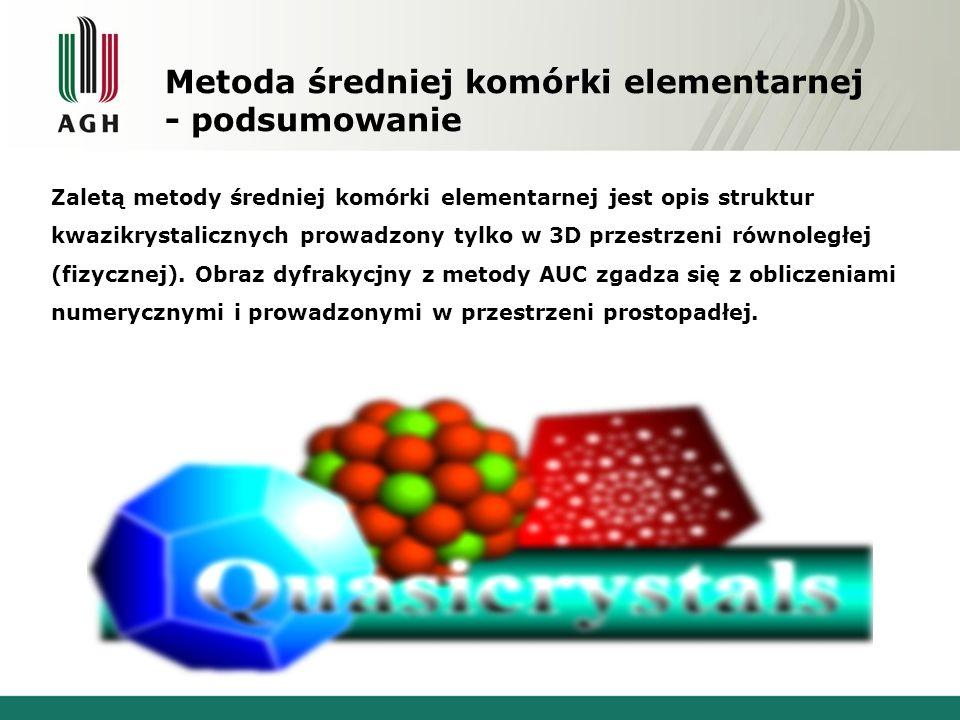 Metoda średniej komórki elementarnej - podsumowanie