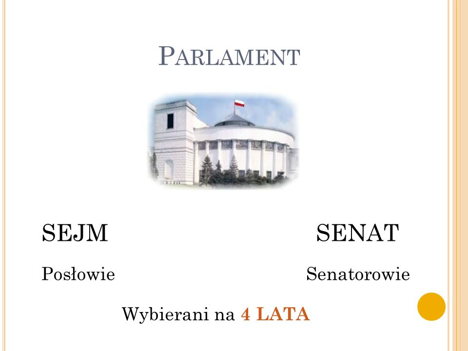 Parlament SEJM SENAT. Posłowie Senatorowie.