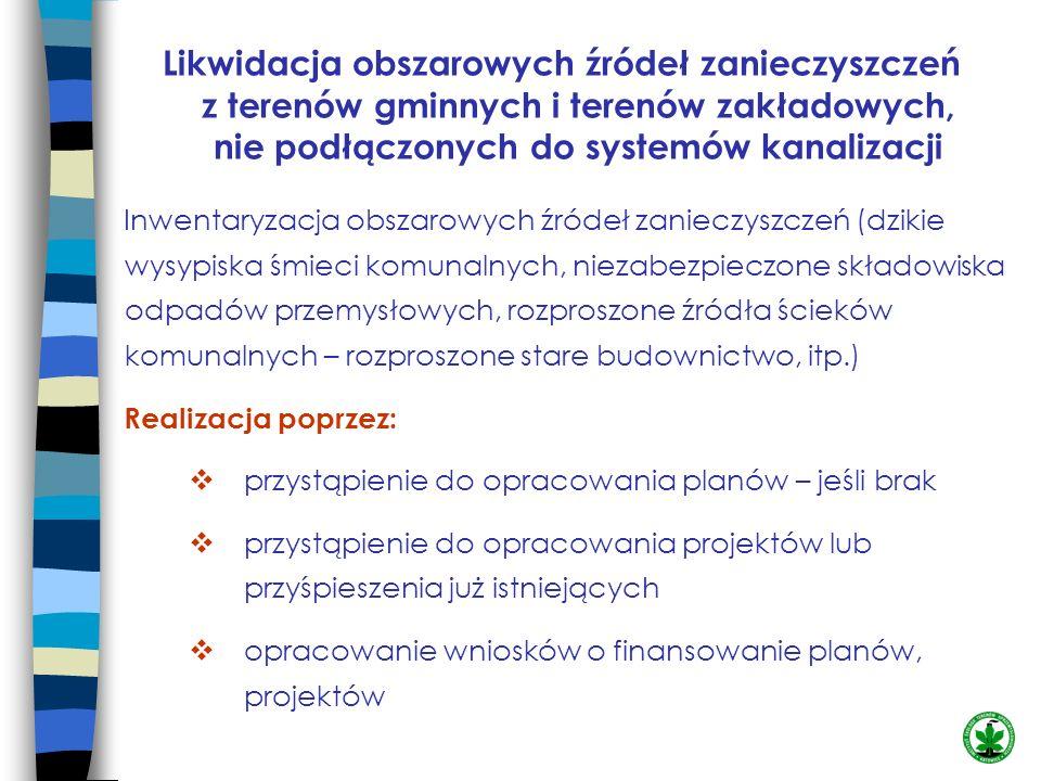 Likwidacja obszarowych źródeł zanieczyszczeń z terenów gminnych i terenów zakładowych, nie podłączonych do systemów kanalizacji