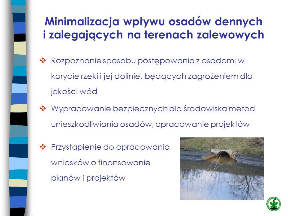 Minimalizacja wpływu osadów dennych i zalegających na terenach zalewowych