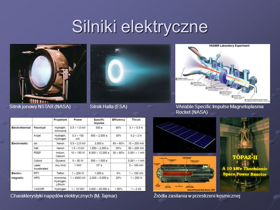 Silniki elektryczne Silnik jonowy NSTAR (NASA) Silnik Halla (ESA)