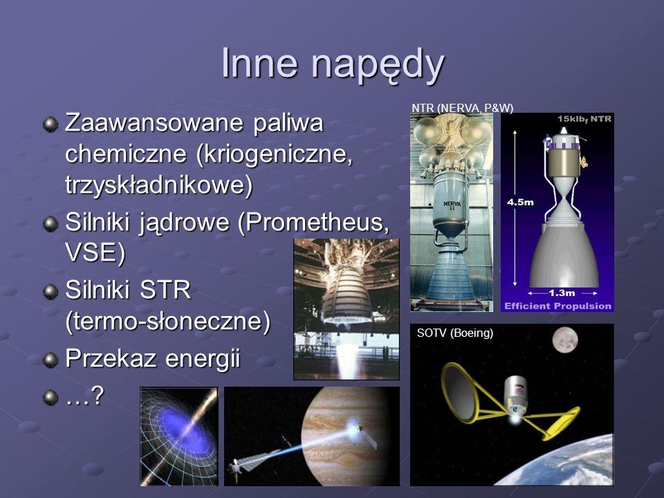 Inne napędy NTR (NERVA, P&W) Zaawansowane paliwa chemiczne (kriogeniczne, trzyskładnikowe) Silniki jądrowe (Prometheus, VSE)