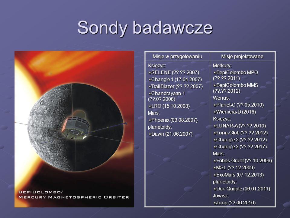 Sondy badawcze Misje w przygotowaniu Misje projektowane Księżyc: