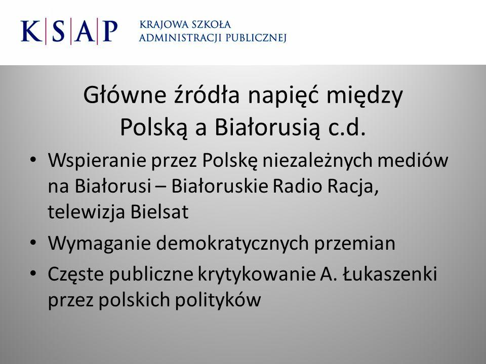 Główne źródła napięć między Polską a Białorusią c.d.