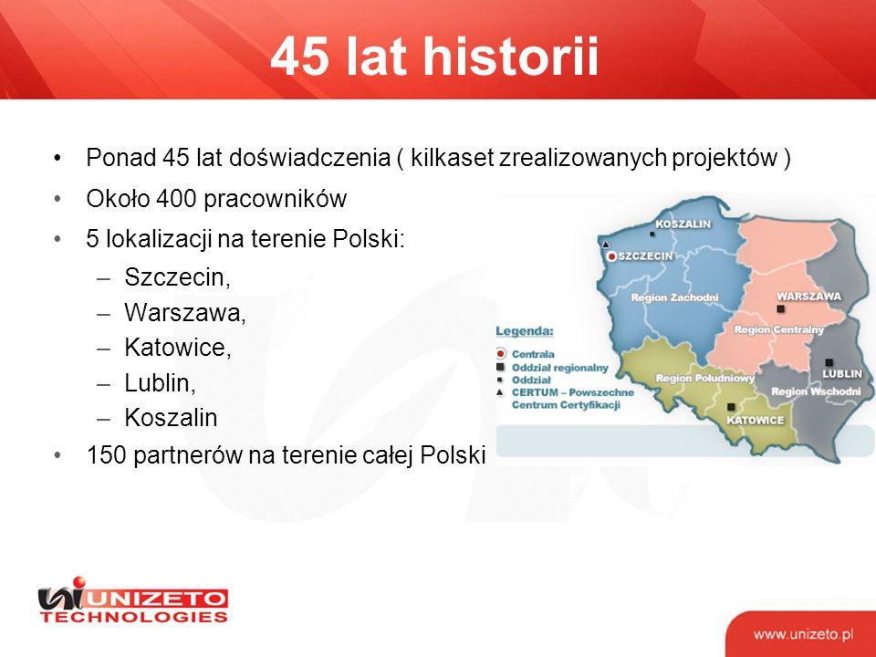45 lat historii Ponad 45 lat doświadczenia ( kilkaset zrealizowanych projektów ) Około 400 pracowników.